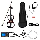 Andoer 4/4 Wood Maple Electric Violin Fiddle Stringed Instrument with Headphone Steel Strings Set 3-in-1 Electric Tuner + Metronome + Tone Generator and A-Frame Stand