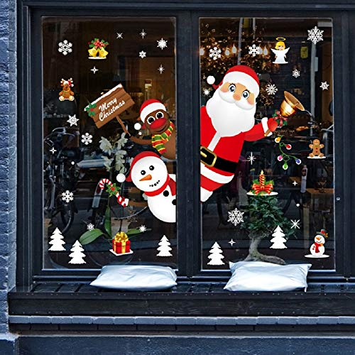 Yusongirl Christmas Window Clings Snowflake Wall Stickers Cute Santa Reindeer Peeking Decals Lovely Baubles Bells Static PVC Stickers for Christmas Home/Shop/Party Window Decorations (Decorations Christmas Shop Window Display)