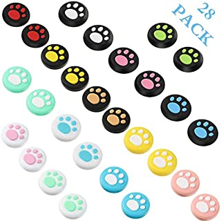 28 Pieces Replacement Cute Cat Claw Design Thumb Grip Caps Thumb Grips Analog Stick Cover Joystick Cap Soft Silicone Cover Compatible with Nintendo Switch, Switch Lite and Joy-Con Controller
