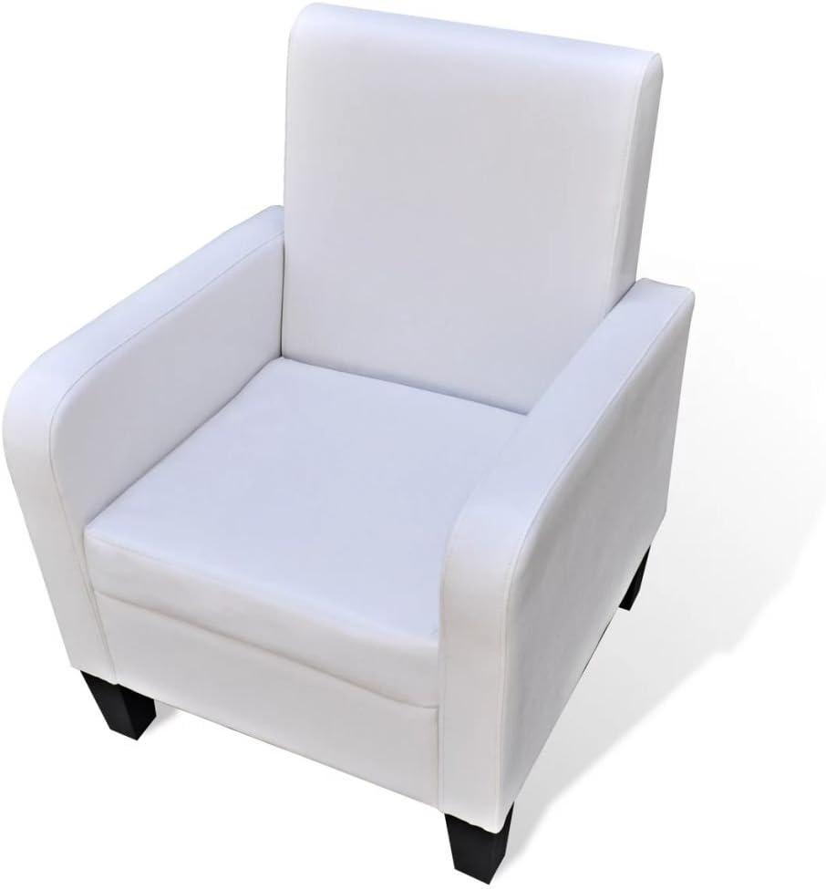 Tidyard Butaca de Salón,Sillón de Relax para Dormitorio Salón Sala de Estar Oficina,Estructura de Madera de Pino,Tapicería de Cuero Artificial,61x60x79,5cm Blanco
