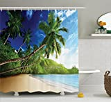 Ambesonne Tropical Decor Collection, Sunset on Beach Anse Takamaka of Mahe Island Seychelles Cloudscape Photography, Polyester Fabric Bathroom Shower Curtain Set with Hooks, Blue Green Ivory