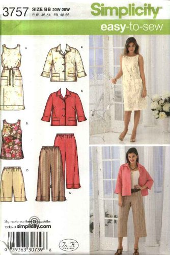 Simplicity Easy to Sew Pattern 3757 Women's Cropped Pants or Shorts, Dress or Tunic, Tie Belt and Jacket Size 20W-28W (Cropped Seersucker Stripe Pant)
