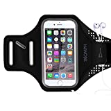 "Triomph Armband for iPhone 8, 7, 6, 6S, SE, 5, 5C, 5S iPod Galaxy S6, S6 Edge S5 with Screen Protecter and Key Cards Money Holder, for Running, Workouts, Jogging, Hiking, Biking, Walking (Black 5"")"