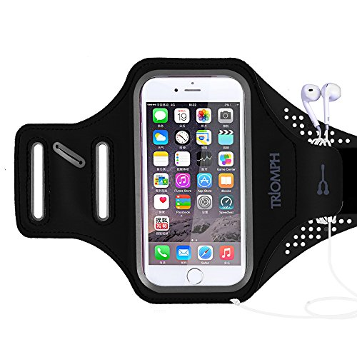 Golfer Key Holder - Triomph Armband for iPhone 8, 7, 6, 6S, SE, 5, 5C, 5S iPod Galaxy S6, S6 Edge S5 with Screen Protecter and Key Cards Money Holder, for Running, Workouts, Jogging, Hiking, Biking, Walking (Black 5