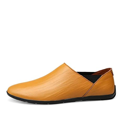 FuweiEncore Mocasines para Hombre Zapatos, Minimalismo para Hombre Mocasines sin Cordones PU Cuero Moda Conducción