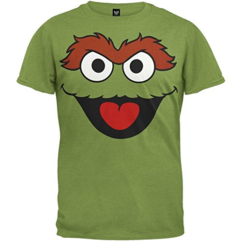 Oscar Sesame Street Costume (Sesame Street - Mens Oscar The Grouch Face Costume T-Shirt - X-Large Green)