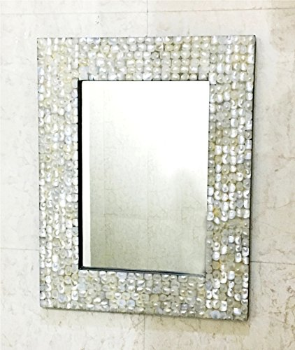 Mother of Pearl Inlay Rectangle Frame Mirror Bedroom Decorative Home Wall Decor