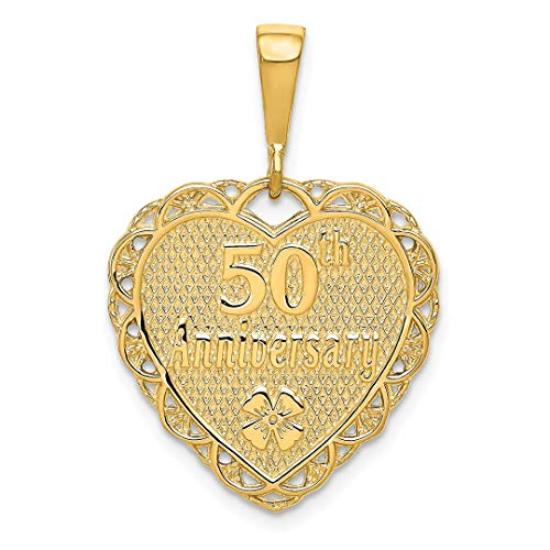 14k Yellow Gold 50th Anniversary Pendant Charm Necklace Special Day Fine Jewelry For Women Gift Set