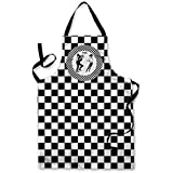 CHEQUERED SKA DESIGN APRON KITCHEN BBQ COOKING PAINTING MADE IN YORKSHIRE by L&S PRINTS