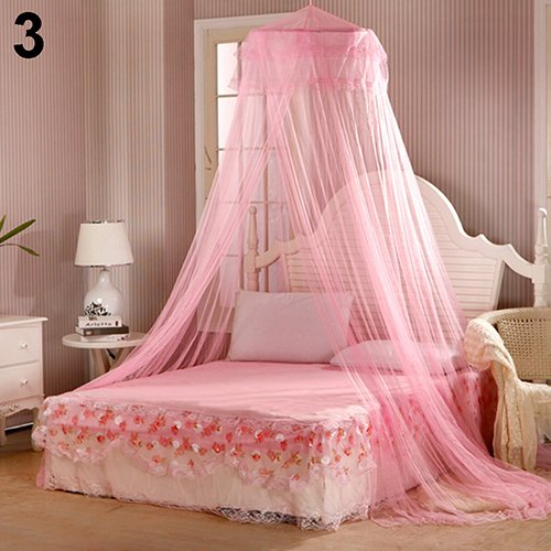 xjarrogantqibi House Bedding Decor Summer Sweet Style Round Bed Canopy Dome Mosquito Net White