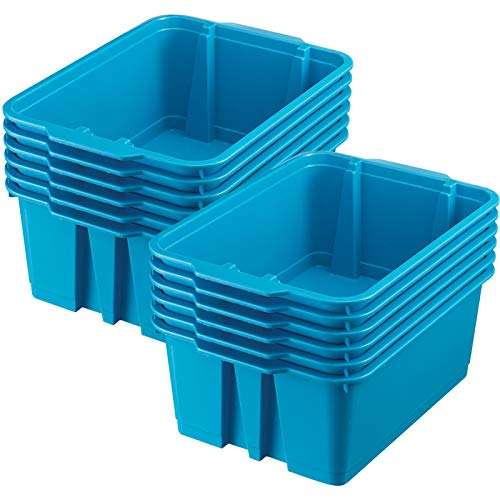 Really Good Stuff Stackable Plastic Book and Organizer Bins for Classroom or Home Use - Sturdy, Colored Plastic Baskets (Set of 12)]()