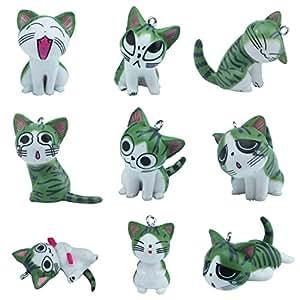 niceEshop 9pcs Cute Japan Konami Kanata Cat Phone Charm Decorative Gift