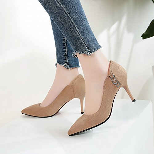 Zapatos De Tacón Alto Para Mujer De Punta Estrecha Para Mujer De Negocios De Albaricoque