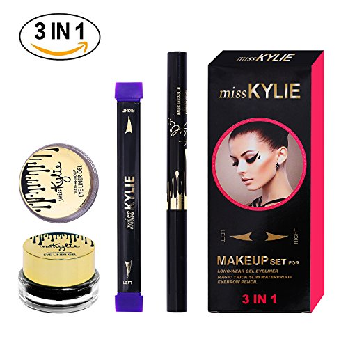 Turelifes Eyeliner Stamp Kit Easy to Makeup Eye Wing Liners 3 in 1 Drawing Eyeliner Tool-Includes Wing Stamp,Brow Pencil & Eyeliner (Stamp Link)