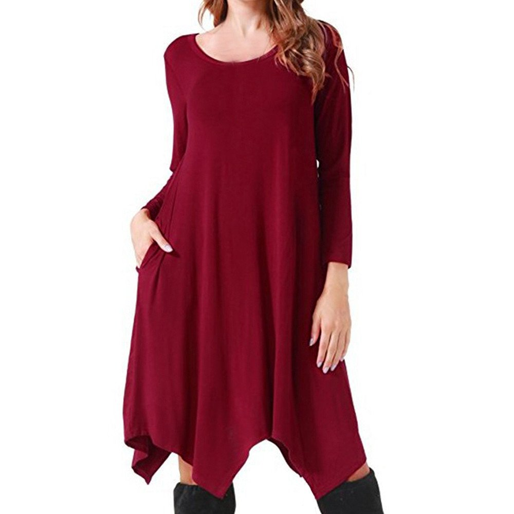 Womens Dresses Liraly Classic Casual Irregular Loose Soft Crewneck Pockets Stretchy Swing Dress