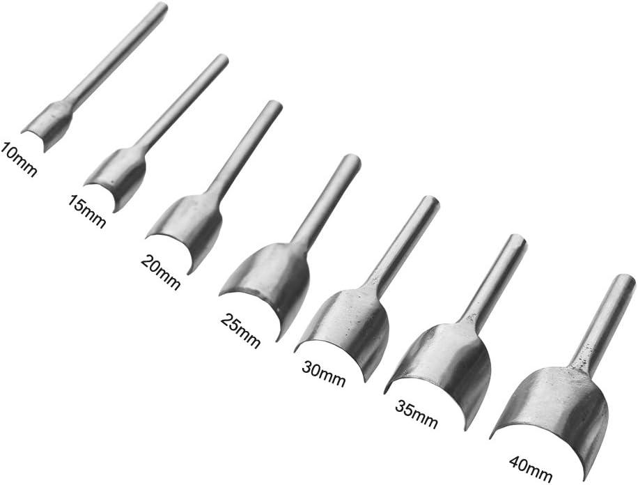 REAMTOP - Punzón de corte semicircular; herramienta para realizar tú mismo artesanías en cuero, ideal para trabajar extremos de correas, cinturones, billeteras; 10 - 40 mm, 7 piezas.