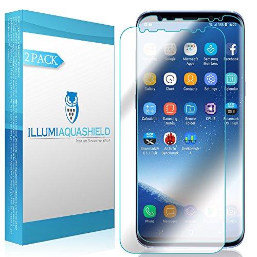 Galaxy S8 Screen Protector (2-Pack, Case Friendly Updated Design), ILLUMI AquaShield Full Coverage Screen Protector for Galaxy S8 HD Clear Anti-Bubble Film