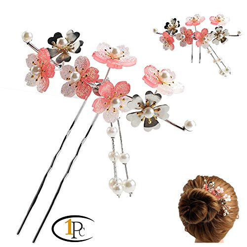Acrylic Geisha Hair Stick with Red Acrylic Cherry Blossom Cluster and Tassel (A Pink)