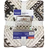 Better Homes and Gardens Velvet Plush King Blanket, Tan Print