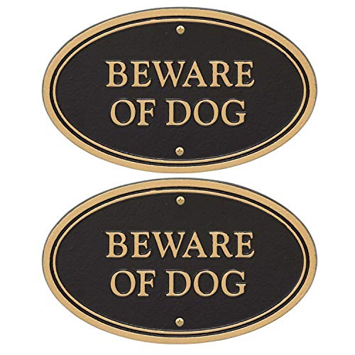 Whitehall Products Beware of Dog Oval Wall/Lawn Statement Plaque, Black/Gold, 6x10 (2 Pack Bundle)