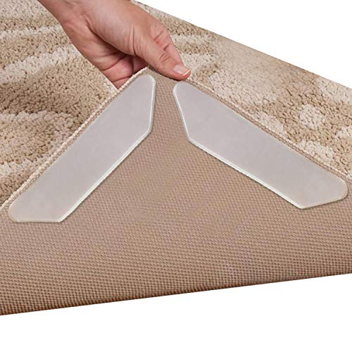 Rug Grippers, Anezus 20 pcs Anti Curling Rug Gripper to Keep Rug in Place Make Edges and Corners Flat Carpet Gripper Pad for Kitchen Bathroom