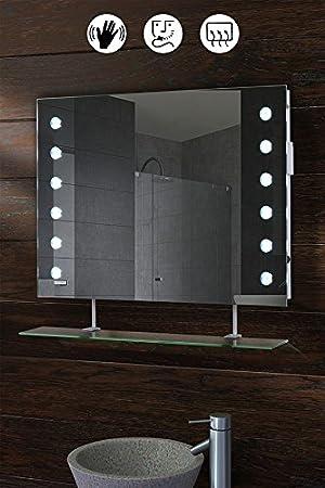 Miroir de salle de bain  éclairage LED avec étag¨re détecteur de