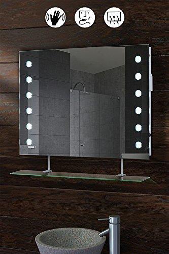 MY-Furniture REFLEX Specchio Bagno con LED e Mensola 70 cm x 50 cm ...