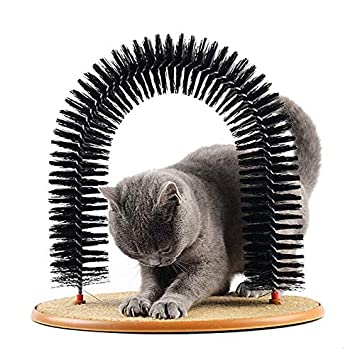 Queta Masajeador de Mascotas Arco de Gato Auto Groomer Masajeador Cepillos Masajeador Masajeador Mascotas Cachorro Gato Rascador Juguetes Peluquería Gato: ...