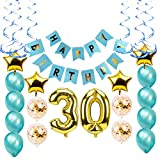 30th Birthday Party Decorations Kit-Large Happy Birthday Banner-Big 30 Gold Decor Foil Balloons- 30th For Him Or Her-Dirty Thirty- Bday Ideas
