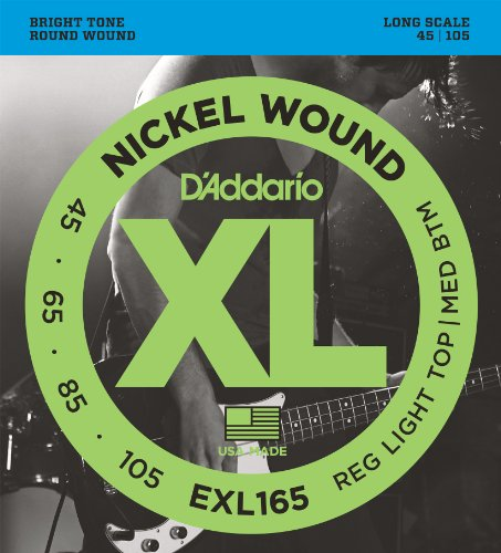 D'Addario EXL165 Nickel Wound Bass Guitar Strings, Custom Light, 45-105, Long Scale ()
