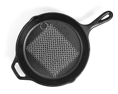 Hudson Essentials Cast Iron Cleaner XL 7x7 Premium Stainless Steel Chainmail Scrubber