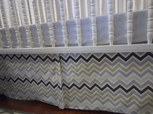 Pleats Striped Skirt - Multi color Brown, grey, ivory, gold, white Chevron crib Skirt Tailored, Box-Pleat Baby Crib Skirt. Fits Toddler's Bed, New, 14 inches long. Zigzag. Free shipping.