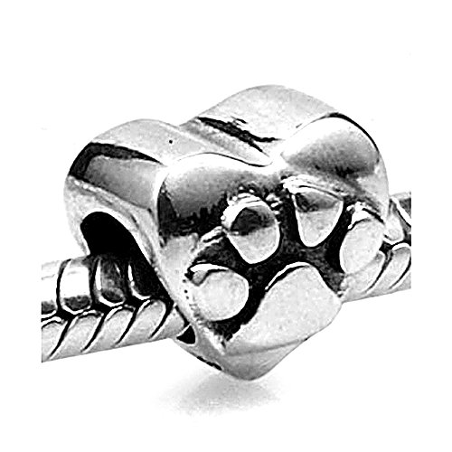 (Everbling Dog Puppy Pet Lover Paw Print Heart 925 Sterling Silver Bead Fits European Charm Bracelet (Silver Heart))