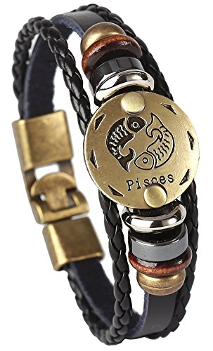 Hamoery Punk Alloy Leather Bracelet for Men Constellation Braided Rope Bracelet Bangle Wristband(Pisces)