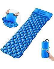 Glymnis Camping Isomatte Schlafmatte Luftmatratze Kleines Packmaß mit Kissen und Airbag Ultraleichte Aufblasbare Isomatte für Camping Reise Outdoor Wandern Strand (Verpackung MEHRWEG)