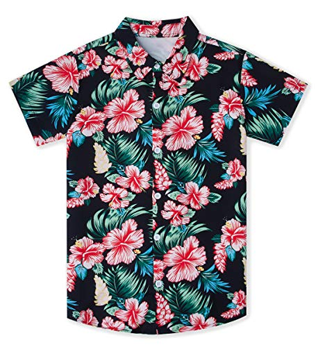9T 10T Little Boy Red Flower Green Leafs Hawaiian Print Dress Shirts Fancy Button-Down Short Sleeves Polo Tee Shirt at School Camp Play Casual Lounging Wear Swimming Pool Outfits for Kids Children