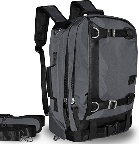 Vintage Style Multi-Functional Backpack from Dusroc has Leather Trim & Steel Buckles. Converts to Shoulder Satchel, Laptop Computer Book bag & Briefcase. Best for Travel, Hiking, School, and Business. (Convert Leather Backpack)