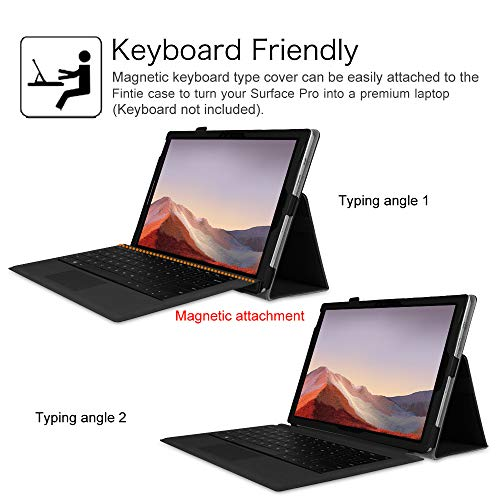 Fintie Case for Surface Pro 7 / Pro 6 - Premium Vegan Leather Slim Fit Folio Cover with Stylus Holder, Compatible with Microsoft Surface Pro 5 / Pro 4 / Pro 3 and Type Cover Keyboard (Black)