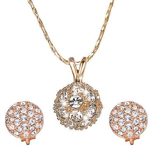 - Yoursfs Halo Crystal Jewelry Set - Round Cubic Zirconia Crystal Bridal Pendant Necklace Clip-on Earrings Set for Wedding Bride