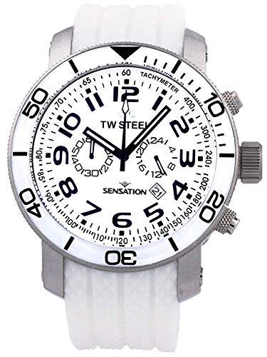 TW-Steel Grandeur White Dial Chronograph White Rubber Mens Watch TW835