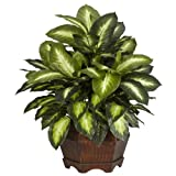 "Nearly Natural 6639 24in. Golden Dieffenbachia Silk Plant,Green,12"" x 12"" x"