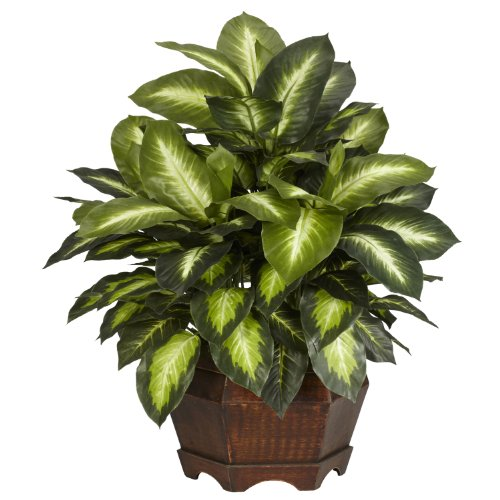 - Nearly Natural 6639 Golden Dieffenbachia Decorative Silk Plant, Green