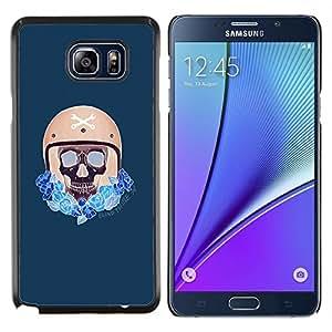 Caucho caso de Shell duro de la cubierta de accesorios de protecci¨®n BY RAYDREAMMM - Samsung Galaxy Note 5 5th N9200 - Conductor compite con el casco del motorista del coche azul