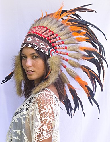 Feather Headdress- Native American Indian Inspired- Handmade by Artisan  Halloween Costume for Men Women - Real Feathers - Orange Rooster Apparel  Accessories ... 311eec6b24c