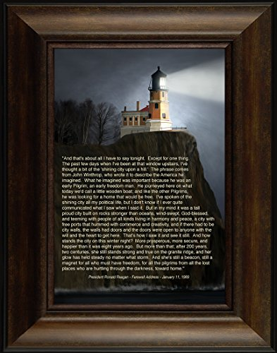 Pictures Lighthouse Split Rock (Shining City on a Hill Speech By Todd Thunstedt 26x20 Ronald Reagan Farewell Speech President Quote Verse Lighthouse Split Rock Two Harbors North Shore Drive Duluth Framed Art Print Wall Décor Picture)