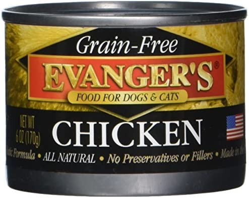 Evanger s Grain-Free 100 Chicken Dog Cat Canned Food, 24-Pack of 6-Oz cans