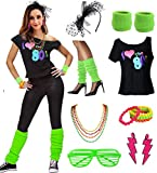 esrtyeryh Women Costume Womens I Love The 80's Disco 80s Costume Outfit Accessories, Green, L/XL