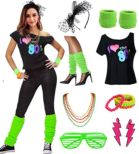 esrtyeryh Women Costume Womens I Love The 80's Disco 80s Costume Outfit Accessories, Green, L/XL -