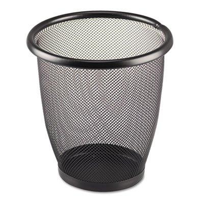 Onyx Round Mesh Wastebasket, Steel Mesh, 3qt, Black, Sold as 1 - Round Onyx Wastebasket Mesh