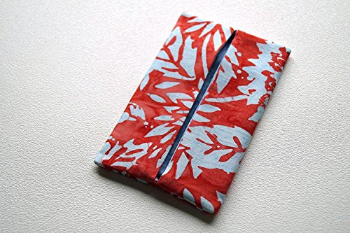 Blue Hawaiian Classic Fabric (Batik Fabric Pocket Travel Tissue Cover in Red and Light Blue Floral)